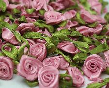 pink 50PCS Satin Ribbon Rose Flower DIY Craft Wedding Appliques 12mm