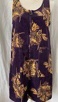 TU Cord Pinafore Dress UK 10 Purple Mustard Knee Length Zip Front Sleeveless