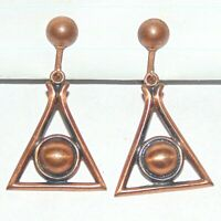 Vintage midcentury copper all seeing eye pyramid drop dangle screwback earrings