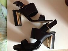 Dune black strappy heeled sandals with gold heels. size 6. brand new