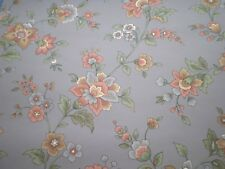 Blue/Gray Wallpaper with Pink and Brown Flowers by Maxwell  701-1532