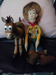 "Toy Story Sheriff Woody Cowboy Plush  12"" Mini Bean Bag and his friend Bullseye"
