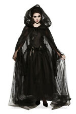 Long Black Sheer Hooded Cape Witch Gothic Vampiress Cosplay Adult One Size