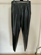 Vintage Yves Saint Laurent Leather High Waisted Trousers - Black - 42