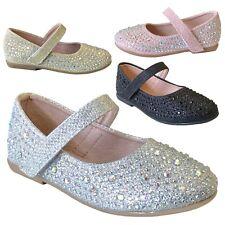 New Girls Rhinestone Flats Round Toe Mary Jane Strap Shoe Baby Toddler Kids 5-12