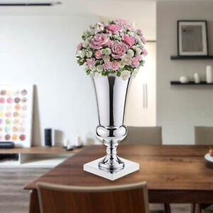 43cm Large Stunning Silver Iron Luxury Flower Vase Urn Wedding Table Home Decor