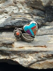 Old Pawn Sterling Silver Multi Stone Heart Ring Navajo Native Southwestern Lot