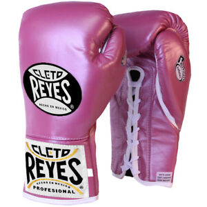 Cleto Reyes Women's Safetec Professional Boxing Fight Gloves-10 oz-Pink Metallic