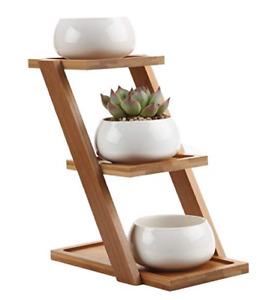 3 Tiers Bamboo Desktop Potted Plant Flower  Storage Rack Shelf Gift