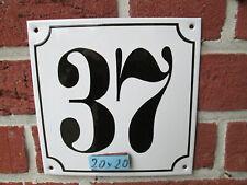 Hausnummer Mega Groß  Emaille Nr 37 schwarze Zahl weißer Hintergrund 20cmx20 cm