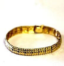 "14k yellow gold fancy link diamond cut bracelet 21.2g estate 8"" antique 9.2mm"
