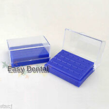 2pcs NEW Dental Plastic FG High Speed Burs Drill Holder Block Case with Cover