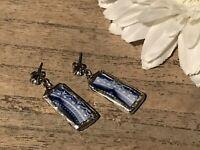 Recycled Broken Porcelain Jewelry, Johnson Bros. ECLIPSE Flow Blue Earrings