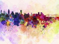 Painting Illustration Cityscape Paint Splash Skyline Montreal Canvas Art Print