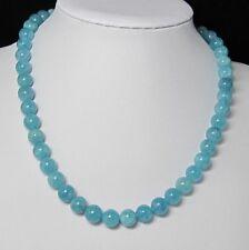 schön Halskette Kette 50cm aus Aquamarin Quarz 10mm und 925 silber