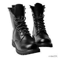 Men's Lastest Black Combat Leather Military Ankle Boots Lace Up Shoes Size 5-11