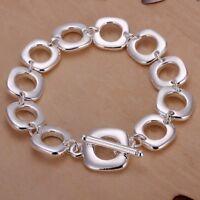 ASAMO Damen Herren Armband mit Vierecken 925 Sterling Silber plattiert A1106