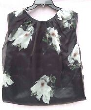 NEW Co Women's LUXURY Brand Flower Print RUCHED TOP Tank Top Blouse - Small