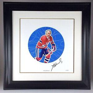 Vintage 2005 Henri Richard NHL All-Stars Autographed Lithograph Frame Stamp Q935