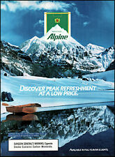 1989 Snow covered mountain row boat Alpine cigarettes retro photo print ad ads81