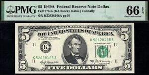 1969a $5 Dallas Federal Reserve Note FRN • PMG 66 EPQ • Fr.1970-K