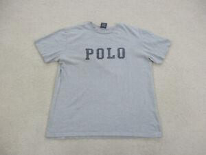 VINTAGE Ralph Lauren Polo Shirt Adult Large Gray Blue Spell Out Logo Men 90s A1*
