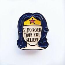 Wonder Woman Feminist Pin Badge. Stronger, Smarter #TimesUp #MeToo Wisdom.