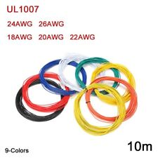 UL1007 Flexible Stranded Electronic Wire 18 20 22 24 26AWG PVC Cable 9-Color 10m