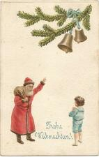 Santa Claus with a Boy and Bells, Christmas, Old Embossed Postcard