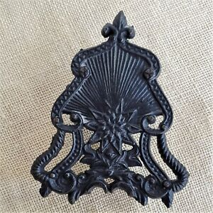 Vintage Black CAST IRON FOOTED TRIVET Farmhouse Country Fleur de Lys Shell Star