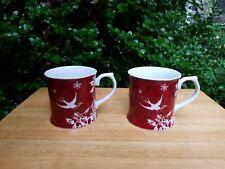 2 Starbucks Coffee Mugs 2010 Rosanna Christmas Holiday Red Mugs White Doves
