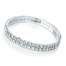 Diamante Bracelet 2 Row Silver Colour Crystal Elastic