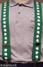 "Suspenders 2""x48"" FULLY Elastic Irish Shamrocks white on green NEW"