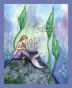 BUBBLE BATH Mermaid baby print from Original Painting By  Camille Grimshaw