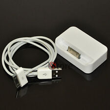 Dock Station Carica batteria Cavo Cavetto USB Per iPhone iPod 4/4G/4S Bianco