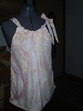 Womens Sz S-M Adjustable Halter Top sleeveless pink paisley handmade Made in USA