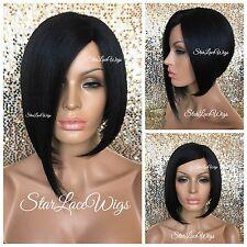 Short Straight Asymmetrical Bob Full Wig #1b Off Black Light Yaki Heat Safe Ok