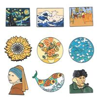 Van Gogh Enamel Pin Collection Art Oil Painting Brooches for Women Lapel Pins Ba