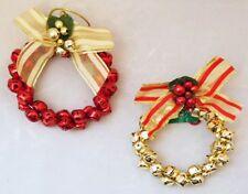 "Wreath Bell Ornament Set 2 Gold Jingle Red Christmas 4"" Kurt Adler Decor"