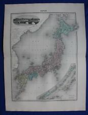 Original antique map JAPAN, KURILES ISLANDS, TOKYO, Migeon 1891