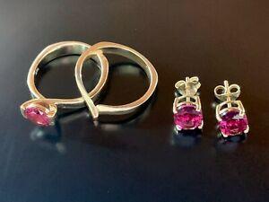 Pink Red Garnet 14k Yellow gold Ring 10k Earrings set Sz.5 1/2 Wedding band