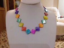 Brand new multi coloured necklace made from real mother of pearl