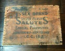 Essex Brand Silver Flash Salutes Fireworks Wooden Crate Advertising Berkley Heig