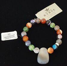 "Barse Agate Stone Sterling Silver Bracelet 9"" Stretch Multicolor"