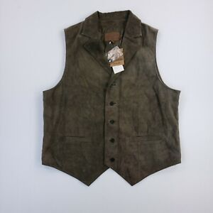 NEW Pendleton Brown Washable Suede Leather Vest Mens Large Button Sleeveless