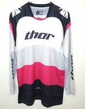 Thor Women's Phase Long Sleeve Pink White Motocross Jersey Shirt Large EUC