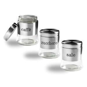 Tris barattoli vetro 3pz con coperchio barattolo 750 ml per caffè zucchero sale