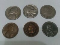 Old US Coin Lot. Indian Head Penny, Buffalo Nickel, Lot of 6 Coins!