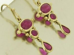 E080 EXQUISITE Genuine 9ct Yellow Gold Natural Ruby Drop Dangle Earrings