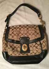 Coach F12857 Ali Legacy Signature Khaki Gold Turnlock Flap Handbag